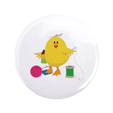"Sewing Chick 3.5"" Button"