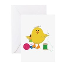 Sewing Chick Greeting Cards