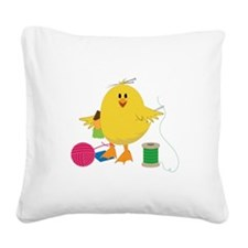 Sewing Chick Square Canvas Pillow