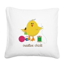 Creative Chick Square Canvas Pillow