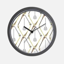 Five Lacrosse Sticks Wall Clock