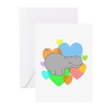 Hippo Hearts Greeting Cards (Pk of 20)