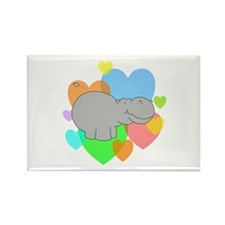 Hippo Hearts Rectangle Magnet