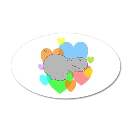 Hippo Hearts 20x12 Oval Wall Decal