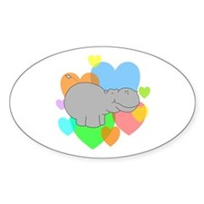 Hippo Hearts Decal