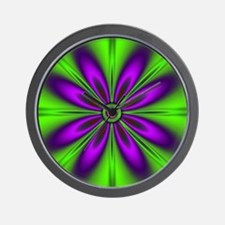 Purple  Green Flower Wall Clock