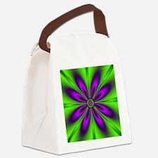 Purple  Green Flower Canvas Lunch Bag