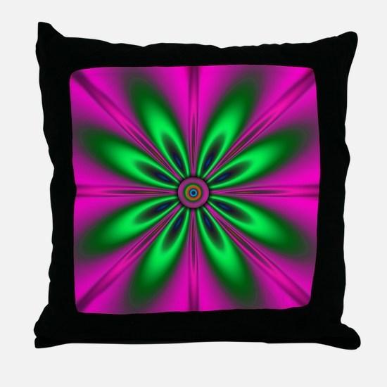 Green Flower on Pink Throw Pillow