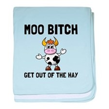 Moo Bitch baby blanket