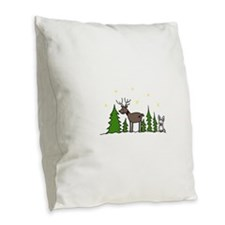 Reindeer Scene Burlap Throw Pillow