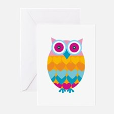 Toy Colored Owl Bird Greeting Cards
