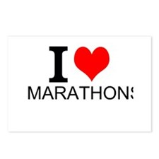 I Love Marathons Postcards (Package of 8)