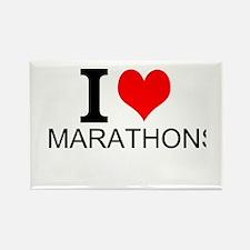 I Love Marathons Magnets
