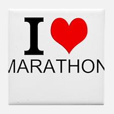 I Love Marathons Tile Coaster
