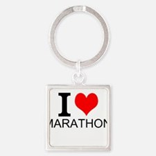 I Love Marathons Keychains