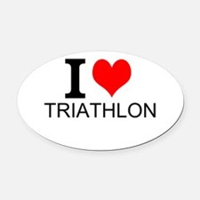 I Love Triathlons Oval Car Magnet