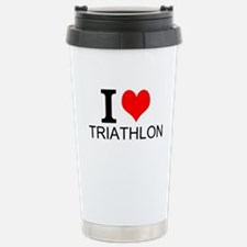 I Love Triathlons Travel Mug