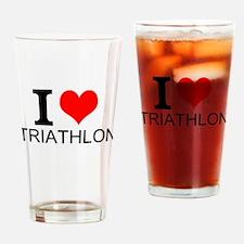 I Love Triathlons Drinking Glass
