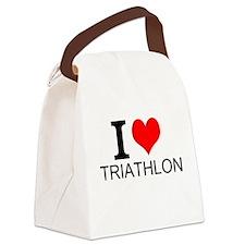 I Love Triathlons Canvas Lunch Bag