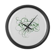 Cool Vegan Art Large Wall Clock