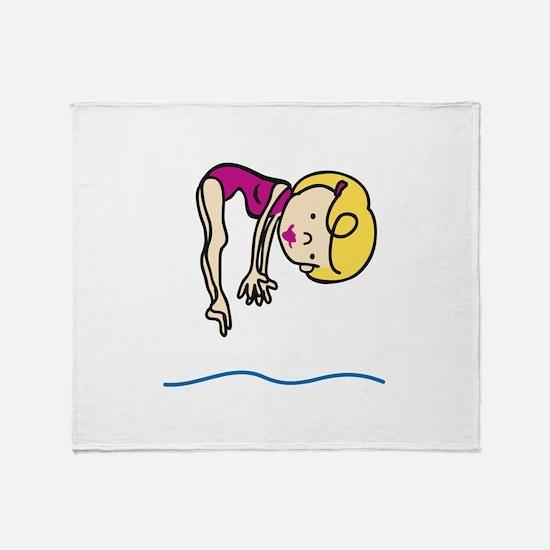 Diver Jump Throw Blanket