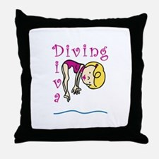 Diving Diva Throw Pillow