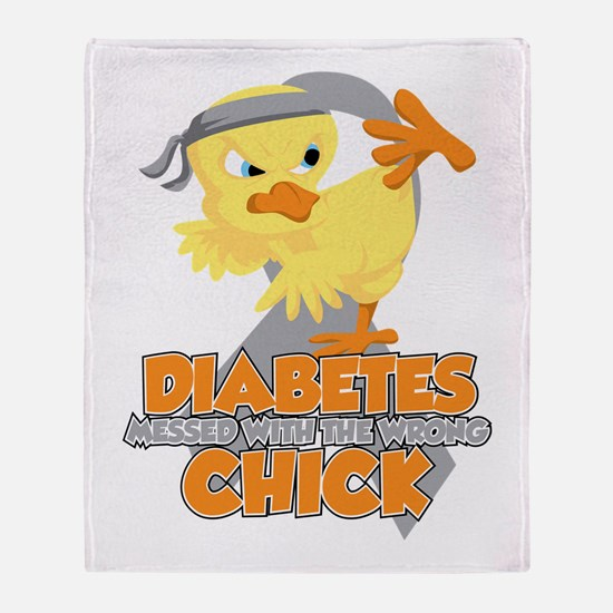 Diabetes Messed With The Wrong Chick Throw Blanket