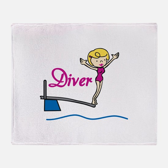 Diver Woman Throw Blanket