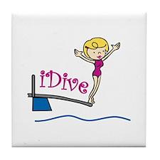 iDive Woman Tile Coaster