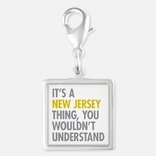 Its A New Jersey Thing Silver Square Charm