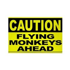 Flying Monkeys Ahead Wide Rectangle Magnet