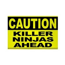 Killer Ninjas Ahead Wide Rectangle Magnet