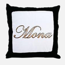 Gold Mona Throw Pillow