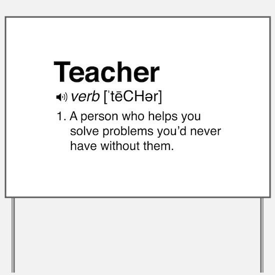 Teacher Definition Yard Sign