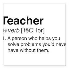 """Teacher Definition Square Car Magnet 3"""" x 3"""""""
