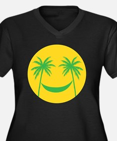 Sun smiley Women's Plus Size V-Neck Dark T-Shirt