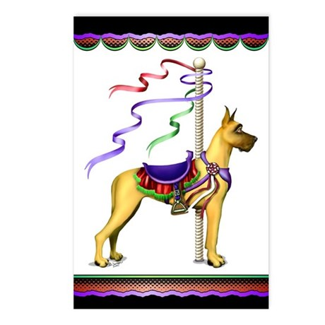 Great Dane Fawn Carousel Postcards (Package of 8)