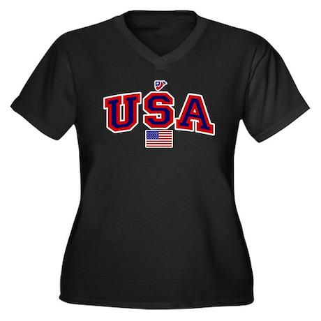 USA Flag Women's Plus Size V-Neck Dark T-Shirt