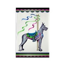 Great Dane Blue Carousel Rectangle Magnet