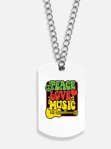 Cute Peace love music Dog Tags