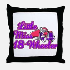 Little Miss 18-Wheeler Throw Pillow