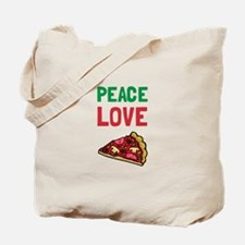 Peace Love Pizza Tote Bag