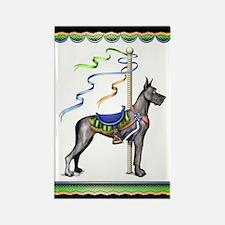Great Dane Black Carousel Rectangle Magnet