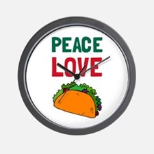 Peace Love Taco Wall Clock