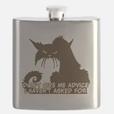 Don't Give Me Advice Angry Cat Saying Flask