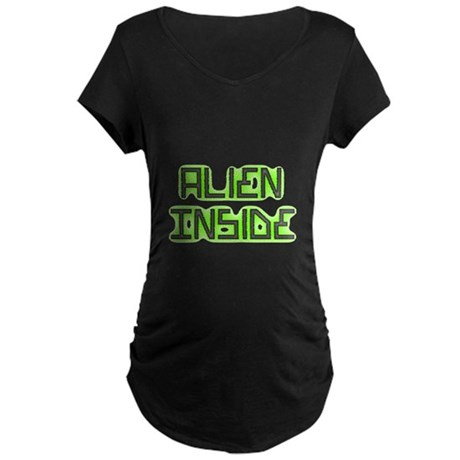 Alien Inside pregnancy Maternity Dark T-Shirt