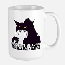Don't Give Me Advice Angry Cat Saying Large Mug