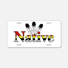 Native text with Eagle Feathers Aluminum License P