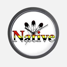 Native text with Eagle Feathers Wall Clock