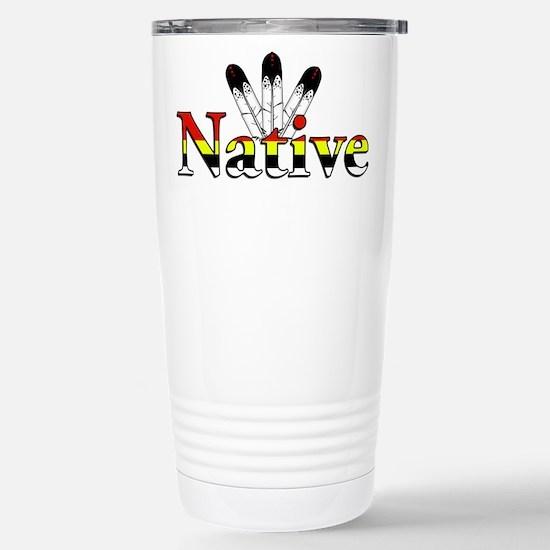 Native text with Eagle Feathers Travel Mug